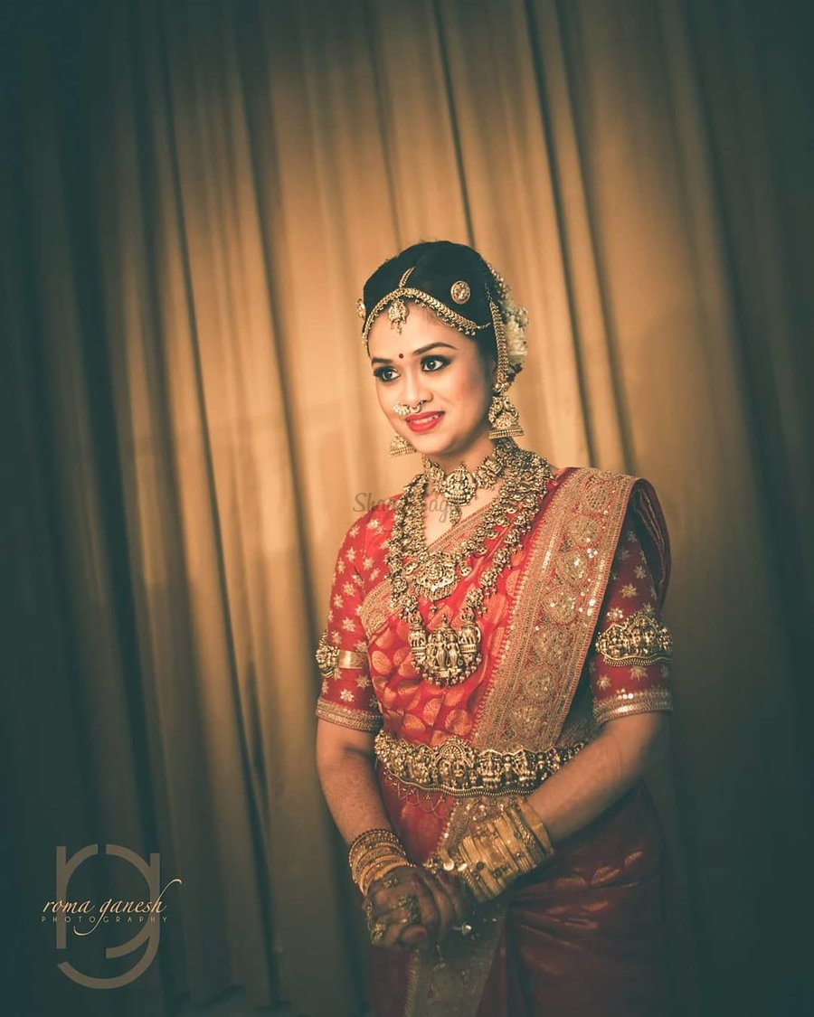 3b704ff16ab74 All Decked Up In That Gorgeous Hand Embroidered Sabyasachi Silk Saree And  Layered Temple Jewellery This
