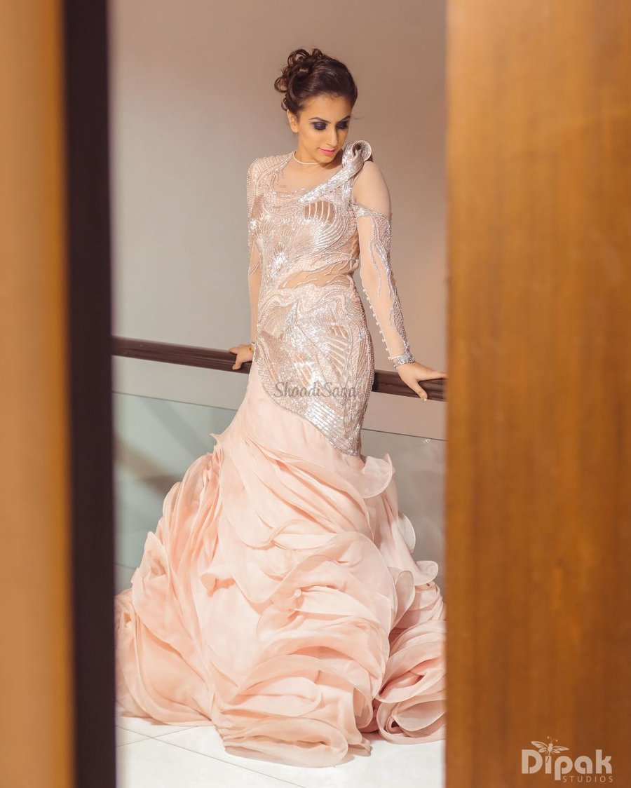 0e26d14c423 Pretty structured gowns with swirling bottoms by Gaurav Gupta look so  princess-y!