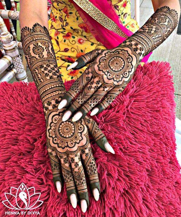 full hand mehndi design back side