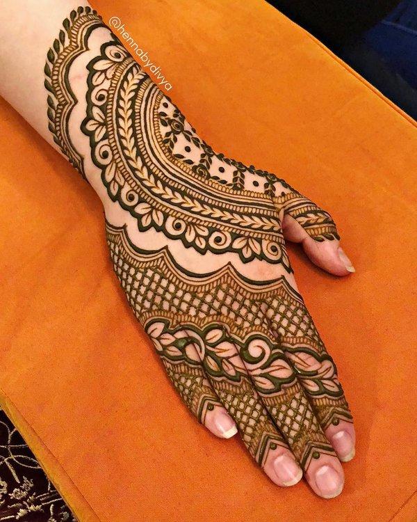 left hand mehndi design back