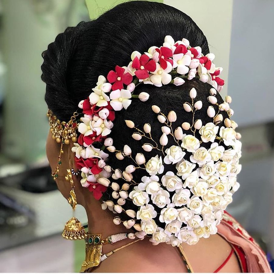 Jaw droppingly pretty hairstyle inspo from south indian brides artificial floral bun accessories izmirmasajfo