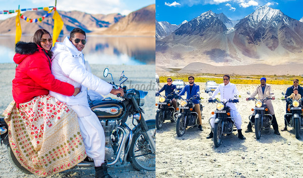 One-of-a-Kind Wedding in Ladakh with the Couple & Baraatis on Bikes