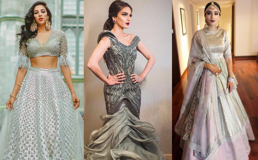 Trending Color Brides In Grey Wedding Outfits Look Shinier Than The