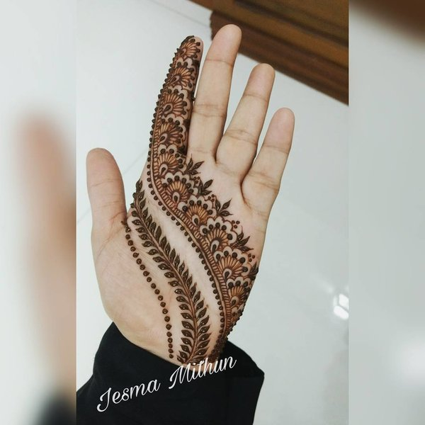 front side bel mehndi design front hand