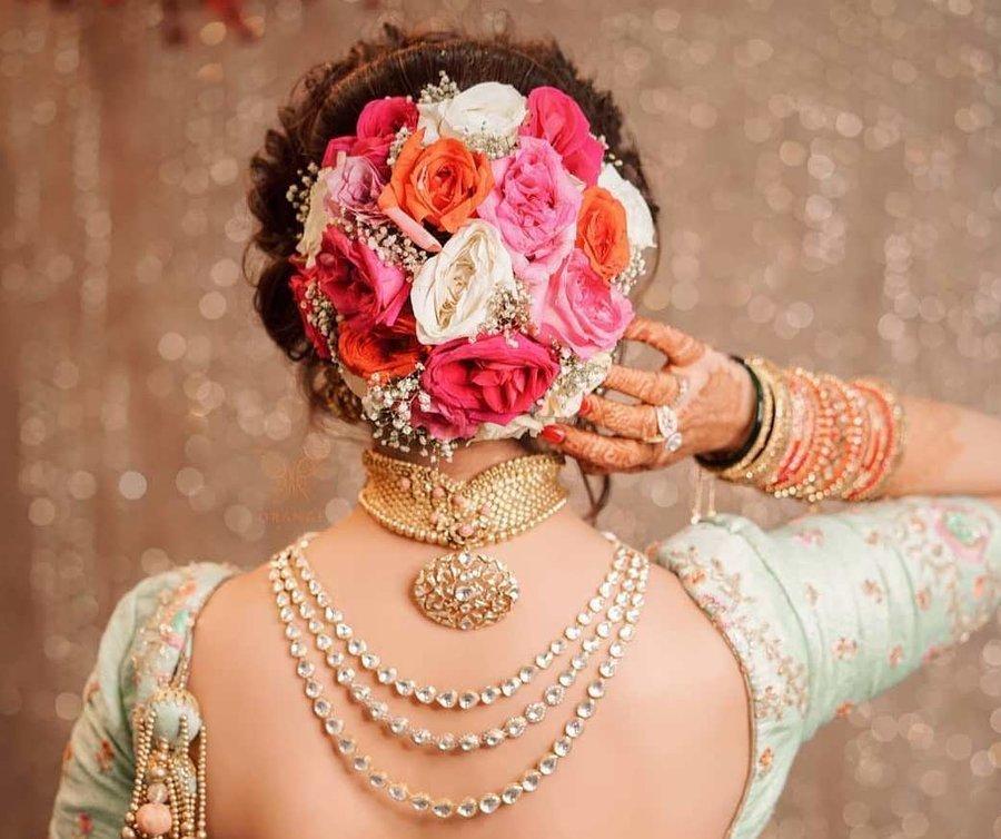Superb 21 Floral Bouquet Bun Hairstyles For Brides Who Love Being Extra Schematic Wiring Diagrams Phreekkolirunnerswayorg