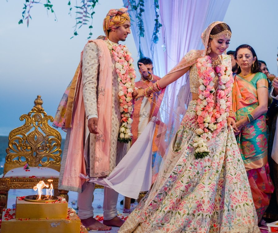 The significance of Saptapadi, Seven vows or Saat Pheras in Hindu weddings can be learnt here.