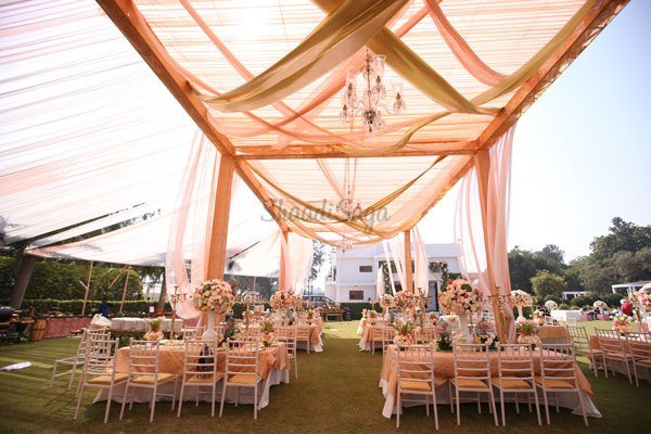 Pastel peach wedding decor
