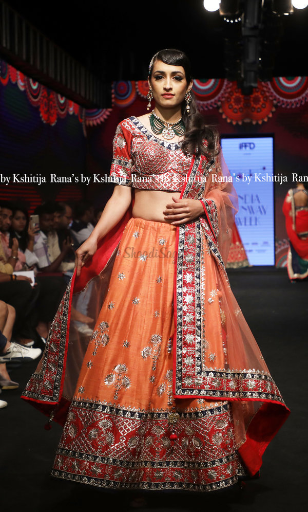 Rana's by kshitija peach lehenga set in pure raw silk