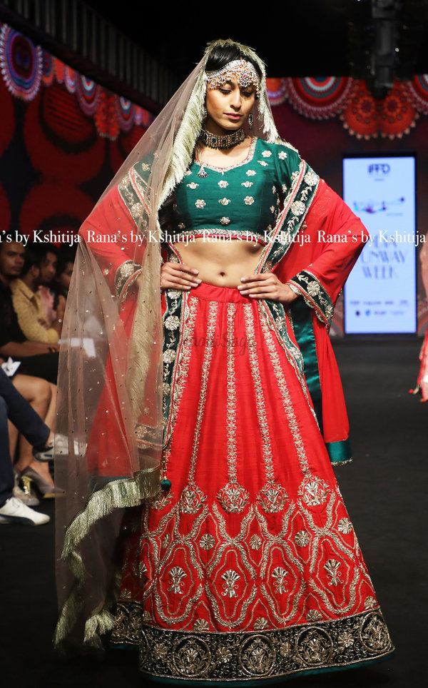 Rana's by kshitija pure raw silk red green lehenga set2