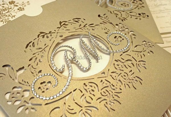 Bespoke laser cut monogram swarovski crystal wallet wedding invitation 4