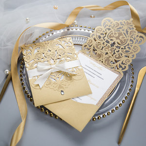 This laser cut sleeve holds the invitation and all your enclosure cards in one n