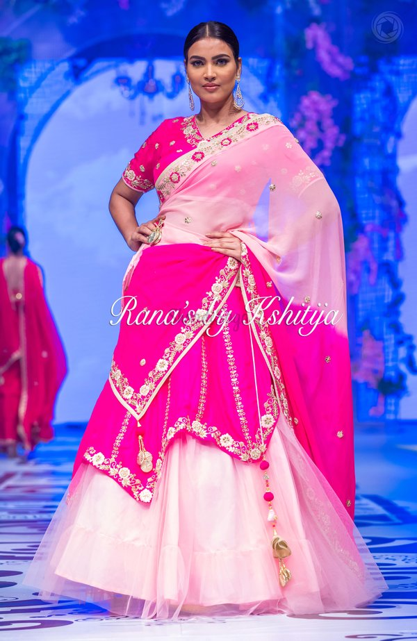 Pink double layer lehenga set1