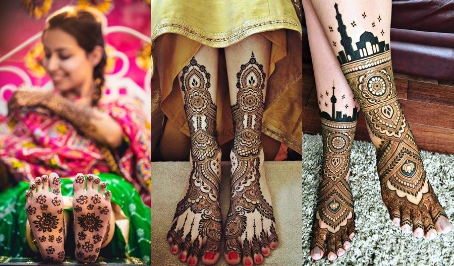 modern leg mehandi design side