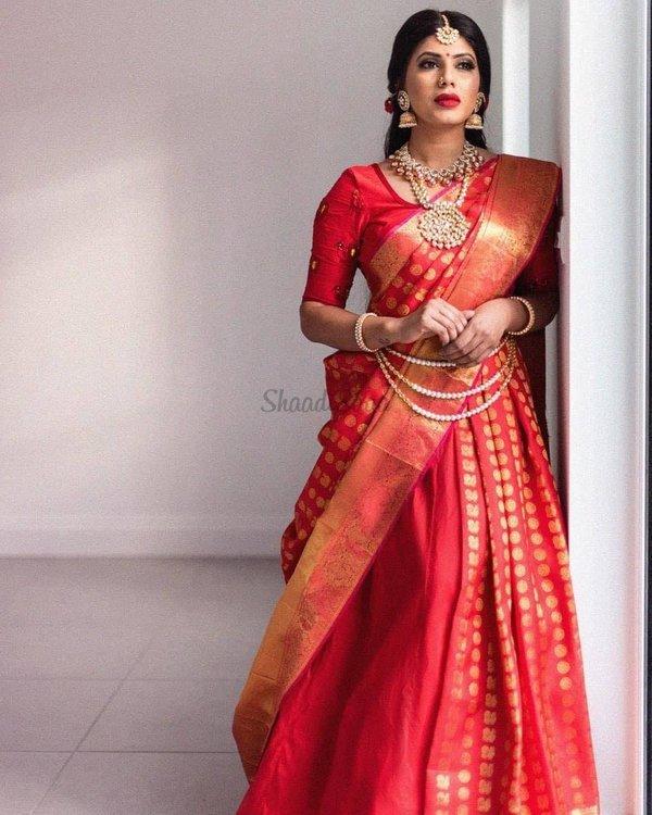 23 Elegant Saree Lehenga Designs For The South Indian Brides Shaadisaga