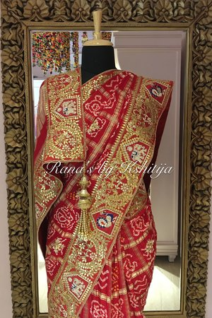 Handmade exclusive gharchola saree in red8