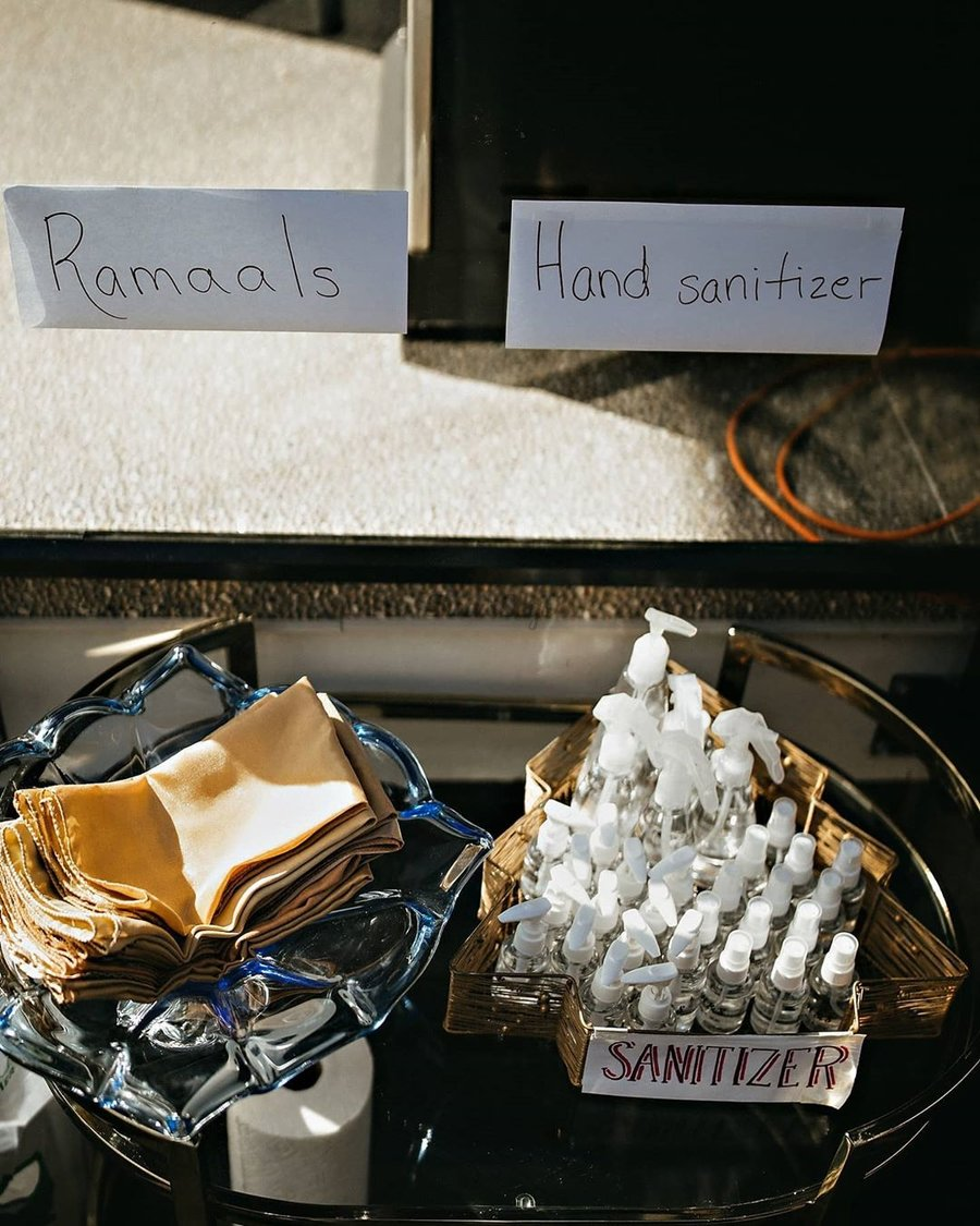 Simple Sanitizer Stations for Safe and No Germ Intimate Weddings, amritphotography
