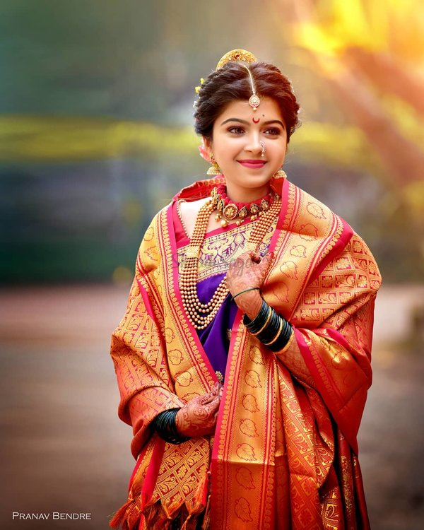 Beautiful Nauvari Sarees We Spotted On These Real Maharashtrian Brides Shaadisaga From variations of blue and green to vivid colors of yellow, red, pink, and. beautiful nauvari sarees we spotted on