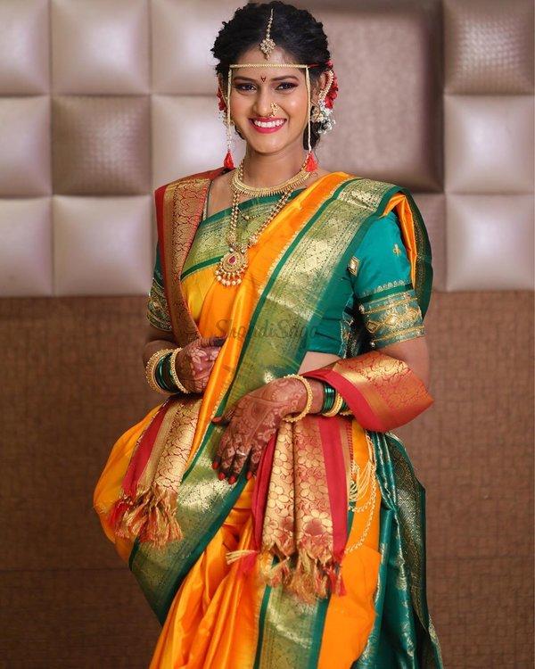 Beautiful Nauvari Sarees We Spotted On These Real Maharashtrian Brides Shaadisaga Nauvari saree pride of women. beautiful nauvari sarees we spotted on