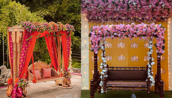 Stunning Oonjal Decoration Ideas For A Winter Wedding Celebration!