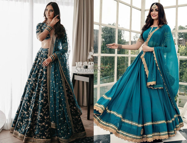 Brides That Looked Gorgeous In Teal Lehengas & Where You Can Buy One Online!