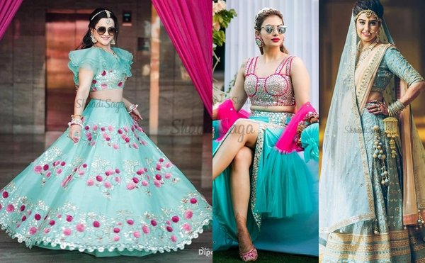 Prettiest 25 Turquoise Lehengas We Spotted for Wedding Ceremonies