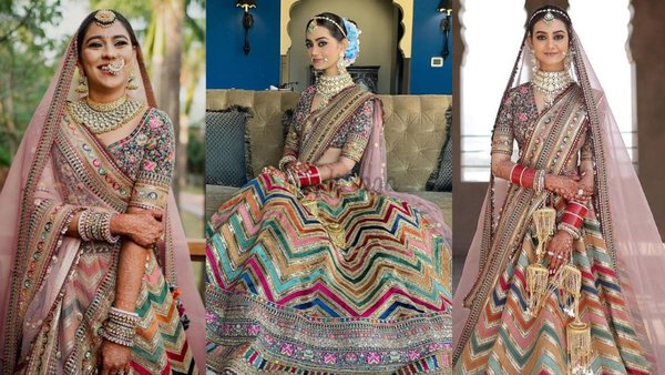 Brides Who Looked Fab In THE Chevron Multi-hued Sabyasachi Lehenga