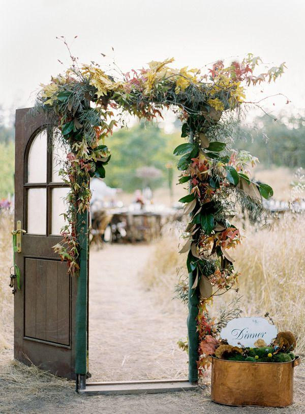 Vintage wedding decor outdoor ceremony flowers full1477127673947